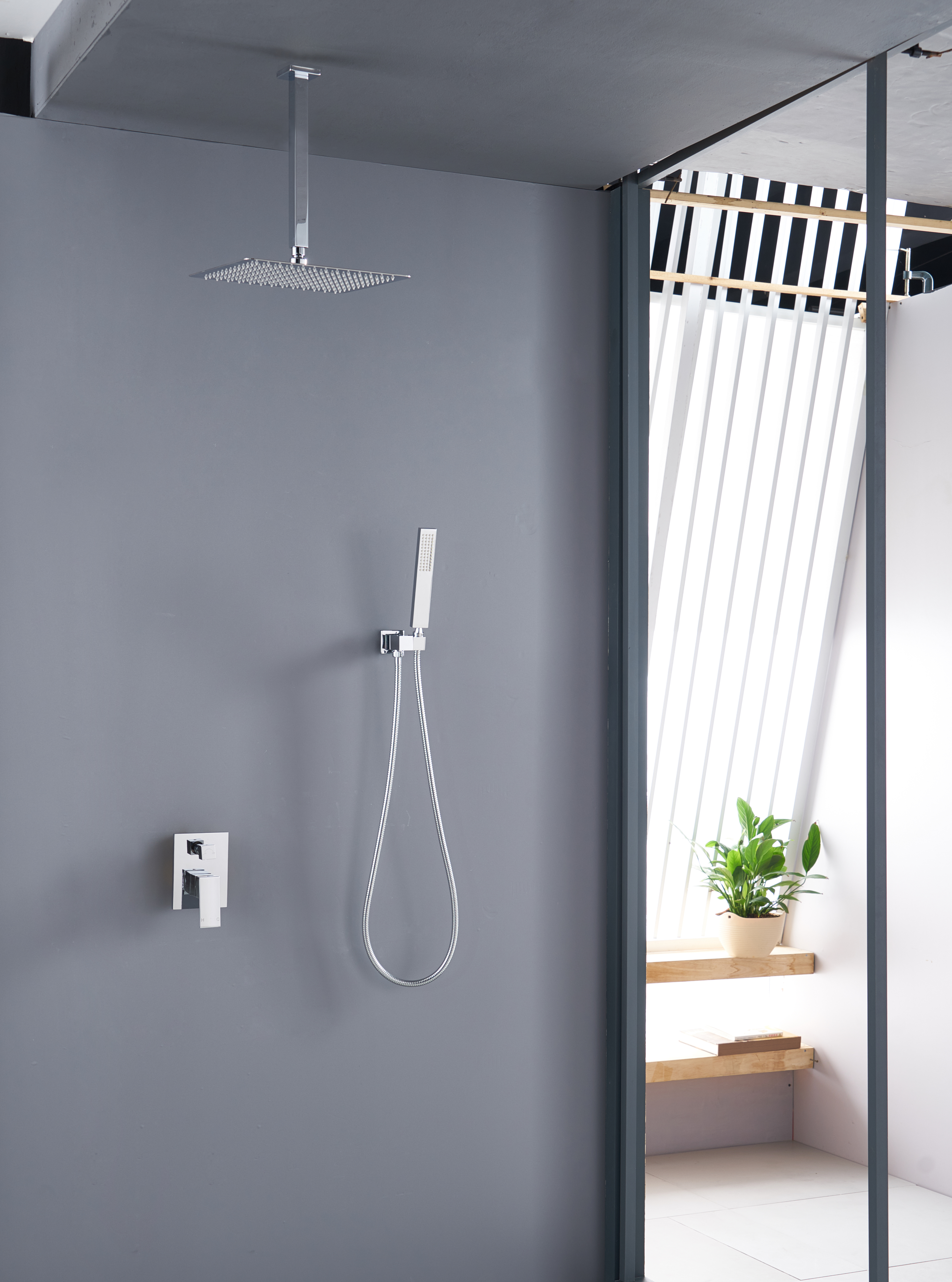 Wels 2in1 Rain Shower Head Set Handheld Wall Arm Diverter Set Mixer